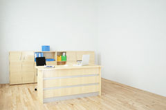 Office with laptop side view Royalty Free Stock Photo
