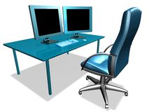 OFFICE LCD MONITOR. 3d model of lcd monitor in the office Stock Photography