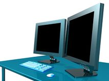 OFFICE LCD MONITOR. 3d model of lcd monitor in the office Stock Image
