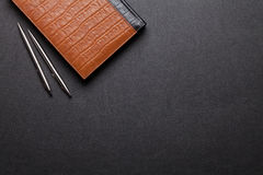 Office leather desk table with notepad, pen and pencil stock photos