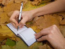 Office on leaves. Office accessories against lying autumn leaves Royalty Free Stock Photos