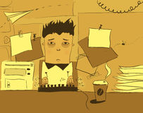 Office life. Poor tired office worker surrounded by papers and other such stuff Royalty Free Stock Photography