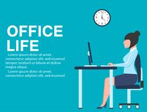 Office life banner with business woman at table Royalty Free Stock Photo