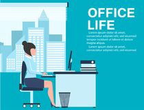 Office life banner with business woman at table Royalty Free Stock Image