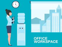Office life banner with woman near water cooler Stock Photo