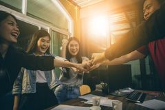 Office life ,happiness emotion of freelance team working success Stock Images