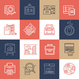 Office Life Icons on Color Tiles Stock Photography