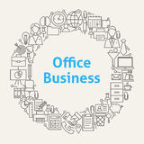 Office Life Line Art Icons Set Circle Royalty Free Stock Photo