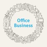 Office Life Line Art Icons Set Circle Royalty Free Stock Photo