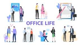 Office Life Man Woman Team Work Talk Contract Sign. Office Life Group Man Woman Colleague Team Work Talk Discuss Contract Sign vector Illustration. Businessman vector illustration
