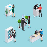 Office Life Scenes Isometric Set Stock Photo