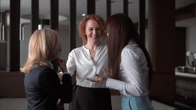 Office life. Three businesswomen chatting, joking and having fun in the office