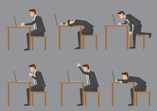 Office Life of White-Collar Worker. Office life of nine-to-five white collar worker or business executive. Set of six side view of vector characters sitting at Royalty Free Stock Photos
