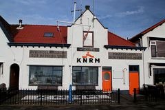Office of the lifeguards named KNRM in the Netherlands in Hoek van Holland. In the Rotterdam Harbor royalty free stock image