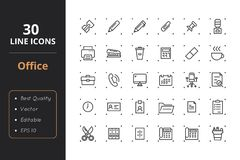 30 Office Line Icons. High quality office line icons. Icons for user interfaces and web Stock Images