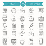 Office Line Icons. Set of 25 office line icons Royalty Free Stock Image