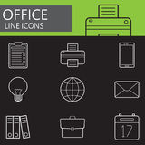 Office line icons set, outline vector symbol Stock Photography