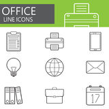 Office line icons set, outline vector symbol Royalty Free Stock Photos