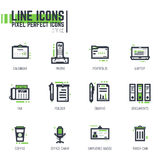 Office line icons. Set of pixel thick line style office icons.Business items in black and green colors with abstract lines and pixel dots Stock Images