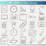 Office line icons. Thin line icons for business and office, modern flat design. Outline web icon set with office objects and tools. Office equipment, symbols Stock Image