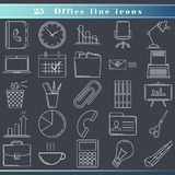 Office line icons. Thin line icons for business and office, modern flat design. Outline web icon set with office objects and tools. Office equipment, symbols Stock Images