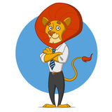 Office lion. Amusing lion in a tie. Vector illustration Stock Photography