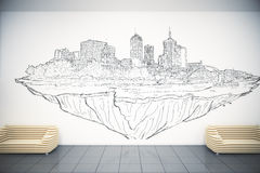 Office lobby with city sketch Royalty Free Stock Photo