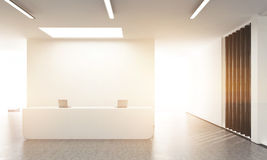 Office lobby front toning. Front view of concrete office lobby with laptops on white reception stand and blank wall behind. Toned image, 3D Rendering Royalty Free Stock Photos