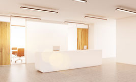 Office lobby. Interior with blank white wall and sunlight. Side view. Mock up, 3D Rendering Royalty Free Stock Images
