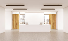 Office lobby. Interior with reception desk, wooden doors, concrete floor and city view. 3D Rendering Stock Photography