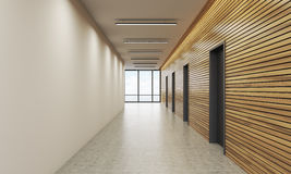 Office lobby with white and wooden wall. Office lobby interior with white and wooden walls. Concept of office building. 3d rendering. Mock up Royalty Free Stock Photography