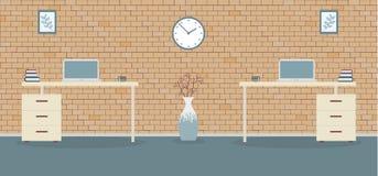 Office in loft style on a brick background stock illustration