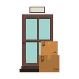 Office logistic with carton boxes set Vector Illustration