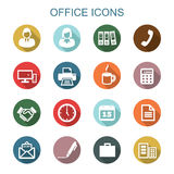 Office long shadow icons. Flat vector symbols Royalty Free Stock Images