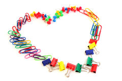Office love. Heart made of colorful office supplies on white background. Secret admirer in the office stock images