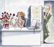 Office Love. She's received flowers and reading a surprise love letter from her colleague in the office Stock Images