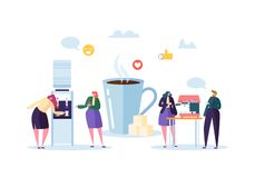 Office Lunch Time. Business People Characters on Coffee Break. Employees Talking, Resting and Drinking Hot Drinks. Vector illustration stock illustration