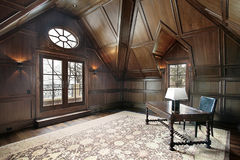 Office in luxury home. Office in new construction luxury home with dark wood paneling Royalty Free Stock Photography