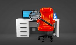 Office with magnifying glass. On gray background Stock Photography
