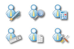Office man activities. Icon set suitable for GUI integration in custom application software Stock Photo