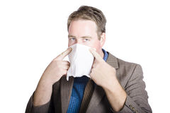 Office man avoiding contagious flu� like the plague Royalty Free Stock Images