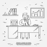 Office man , Business man.  Thin line  icon for web and mobile. Stock Photo