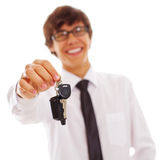 Office man with car keys Royalty Free Stock Images
