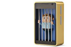 A  office man character in mobile phone jail.3D illustration. A office man character in mobile phone jail. 3D illustration Stock Photos