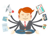 Office man with eight hands meditating in the middle of busy wor Royalty Free Stock Photography