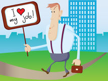 Office man with empty board I love my job Royalty Free Stock Photos