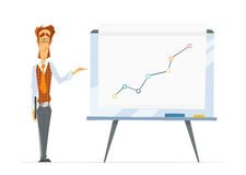 Office man and flip-chart paper board whiteboard  Royalty Free Stock Image