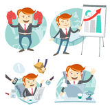 Office man hipster set: showing a presentation, Happy worker at Stock Photography