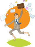 Office man jump with open bag with papers Royalty Free Stock Photos