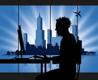 Office Man Means Pc Metropolitan And Web Royalty Free Stock Images